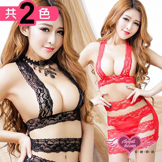 【天使霓裳】情趣睡衣 風華圍繞 性感誘惑蕾絲連身睡衣(黑/紅F)