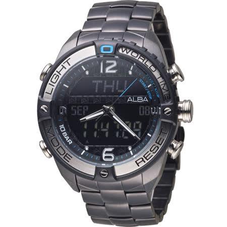 ALBA 雅柏 活力型男玩轉雙顯計時腕錶 N021-X002SD 黑 AZ4015X1