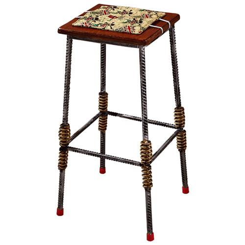 AT HOME-伍德鋼筋木面吧台椅