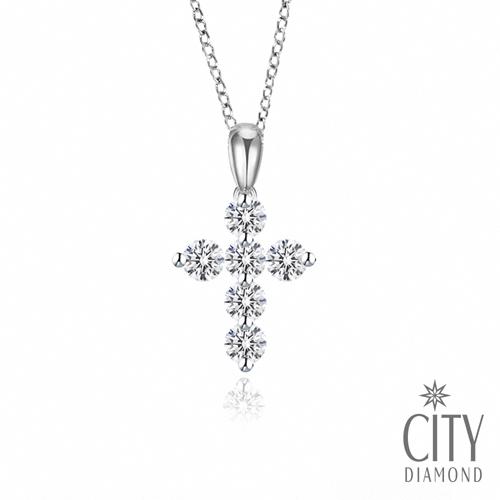 City Diamond引雅 小晶鑽6顆K金項鍊(Belief十字架系列)
