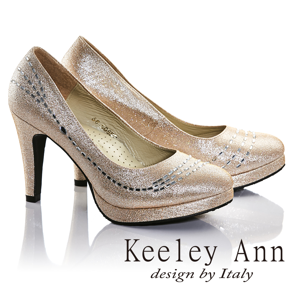 Keeley Ann璀璨光芒-完美曲線水鑽真皮軟墊高跟鞋(金色685058237)