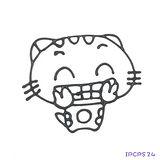 【愛玩色創意館】兒童無毒彩繪玻璃貼- 小張圖卡 - 開心貓 IPCPS24 -台灣製