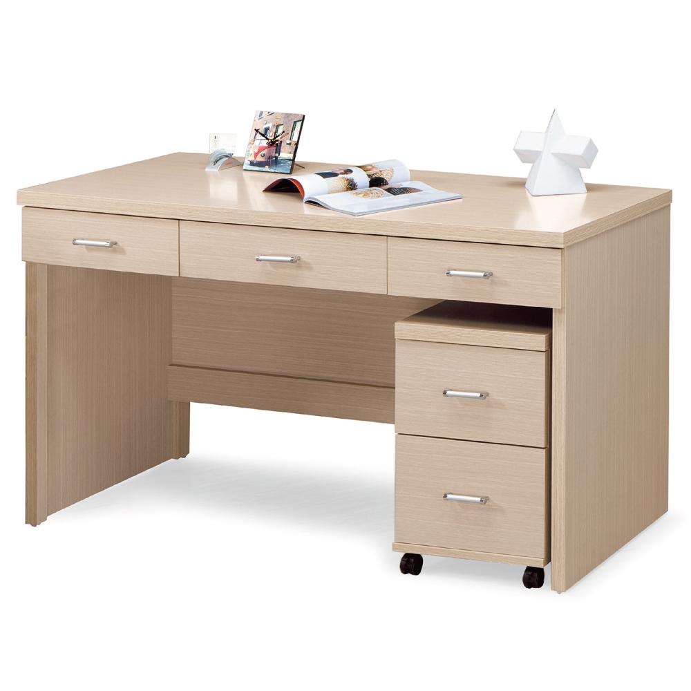 AS-洛雅白橡色5尺三抽書桌