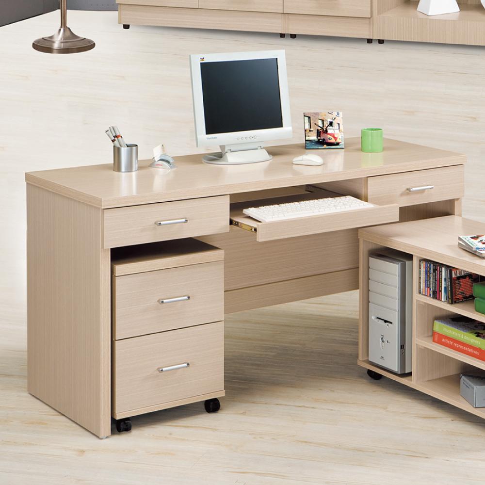 AS-日系清新白橡色5尺電腦桌