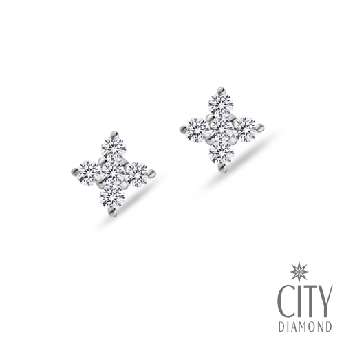 City Diamond引雅『雪花十字』K金耳環(Belief十字架系列)