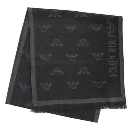 EMPORIO ARMANI 滿版logo雙面羊毛圍巾-鐵灰/黑色