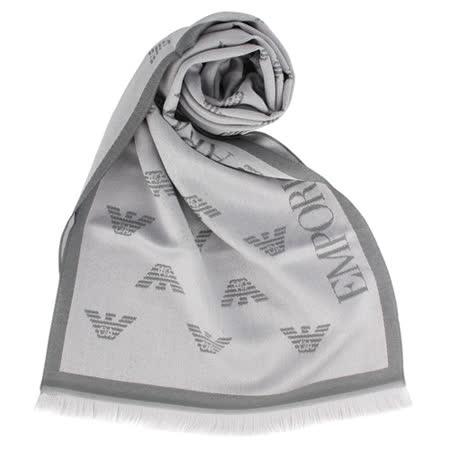 EMPORIO ARMANI 滿版logo雙面羊毛圍巾-淺灰/灰色