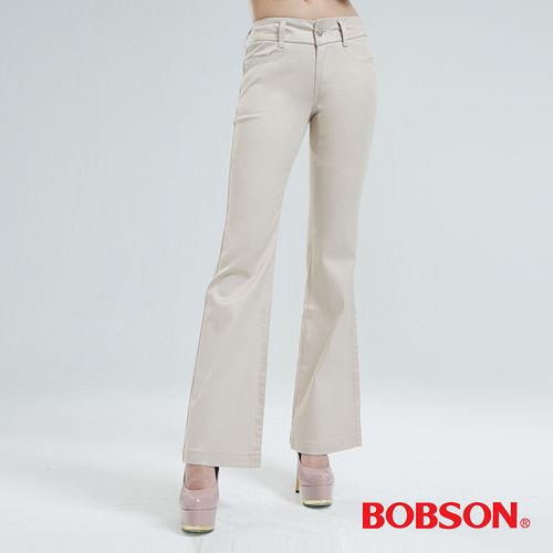 BOBSON 高腰頭鑽飾伸縮喇叭褲(鐵灰9050-72)