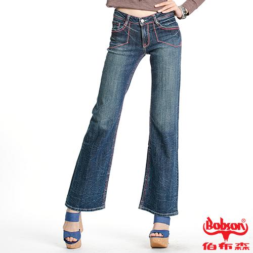 BOBSON 女款紅色繡線寬管喇叭褲(9073-53)