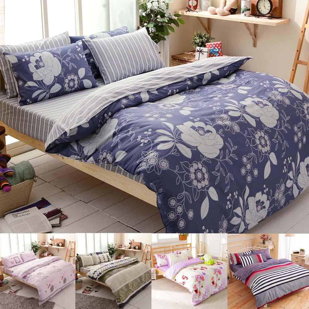 (任選2入)FOCA 100%精梳棉四件式舖棉兩用被床包組