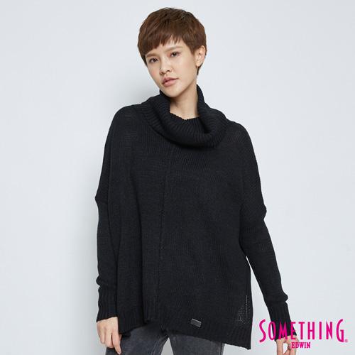 SOMETHING 基本款寬鬆高領毛衣-女-黑色