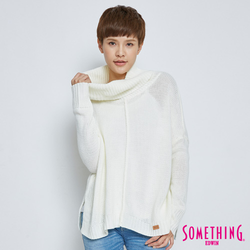 SOMETHING 基本款寬鬆高領毛衣-女-白色
