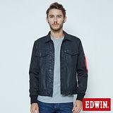EDWIN 牛仔剪接舖棉外套-男-黑色