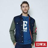 EDWIN 牛仔剪接舖棉外套-男-原藍色