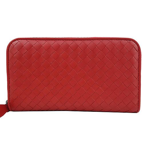 BOTTEGA VENETA 經典編織小羊皮圓皮拉鍊長夾(紅色)