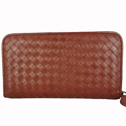 BOTTEGA VENETA 經典編織小羊皮圓皮拉鍊長夾(磚紅色)