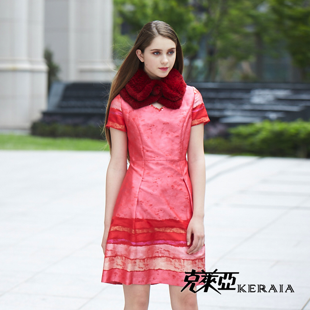 【克萊亞KERAIA】裙擺條紋緞花洋裝