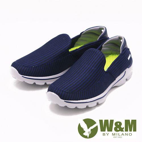W&M MODARE 素色 透氣舒適彈性 男鞋-藍(另有黑)