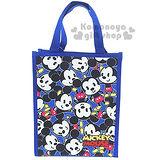 〔小禮堂〕迪士尼 米奇 直式手提便當袋《藍.Q版滿版》輕巧好攜帶