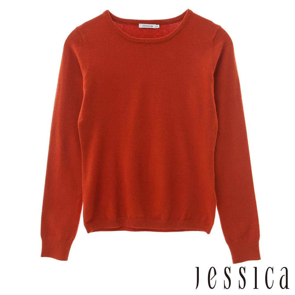 JESSICA RED-簡約基本款圓領針織長袖上衣(橘)
