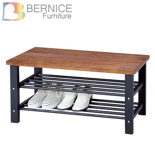 Bernice-柏德3尺工業風坐式鞋櫃/穿鞋椅