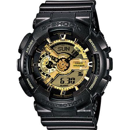 CASIO 卡西歐 G-SHOCK 黑金狂潮重機雙顯錶 GA-110BR-5ADR