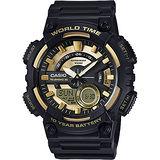 CASIO 卡西歐 10年電力世界時間碼錶-金x黑 AEQ-110BW-9AVDF