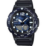 CASIO 卡西歐 10年電力世界地圖錶-藍x黑 AEQ-100W-2AVDF
