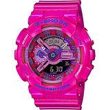CASIO 卡西歐 G-SHOCK 艷彩雙顯錶-粉紅 GA-110MC-4ADR