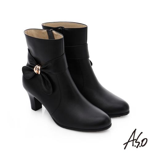 A.S.O 優雅時尚 立體蝴蝶結飾奈米中筒靴(黑)