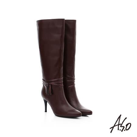 A.S.O阿瘦保暖靴 真皮流蘇綴飾長靴