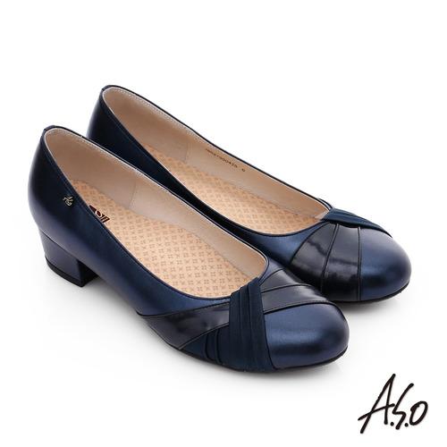 A.S.O 舒活系列 真皮抓皺異材質跟鞋(深藍)