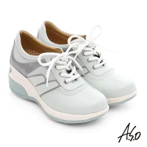 A.S.O 抗震美型 牛皮綁帶奈米楔型休閒鞋(白)