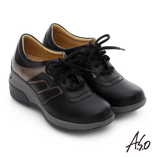 A.S.O 抗震美型 牛皮綁帶奈米楔型休閒鞋(黑)