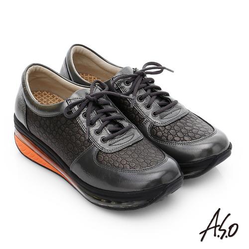 A.S.O 活力微笑 牛皮雙層抗震綁帶奈米休閒鞋(深灰)