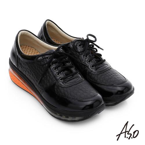 A.S.O 活力微笑 牛皮雙層抗震綁帶奈米休閒鞋(黑)