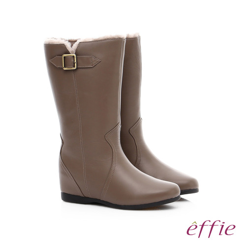 effie 心機美型 真皮絨毛內增高奈米長靴(卡其)