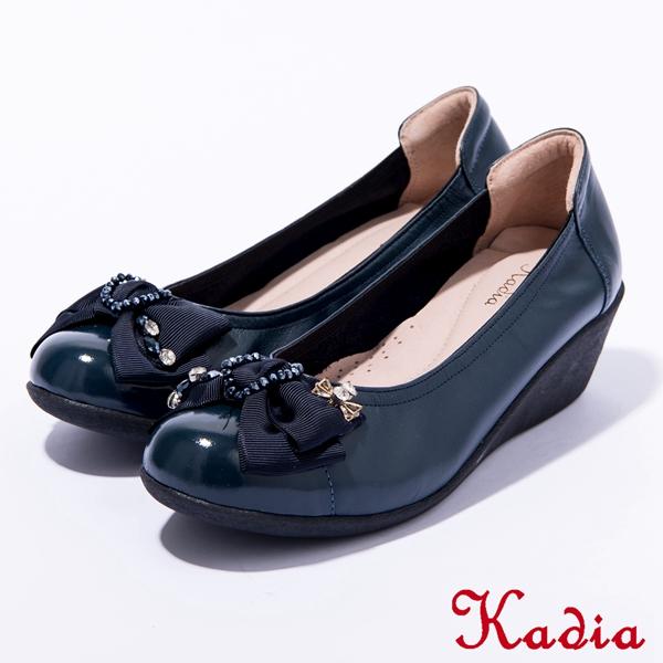 Kadia.氣質款蝴蝶結娃娃鞋(深藍色)