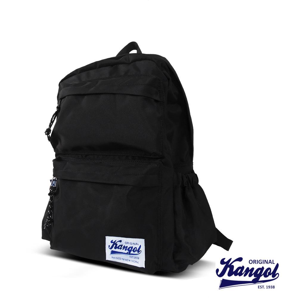 KANGOL 英式時尚潮流 特仕純黑款機能後背包-黑色KG1111A-02