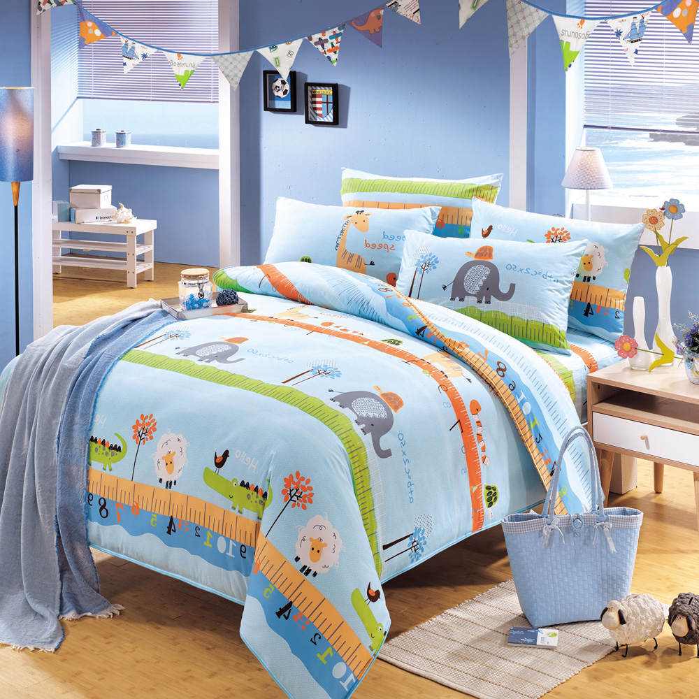 鴻宇HongYew《動物農場-藍》防蹣抗菌 精梳棉雙人薄被套床包組