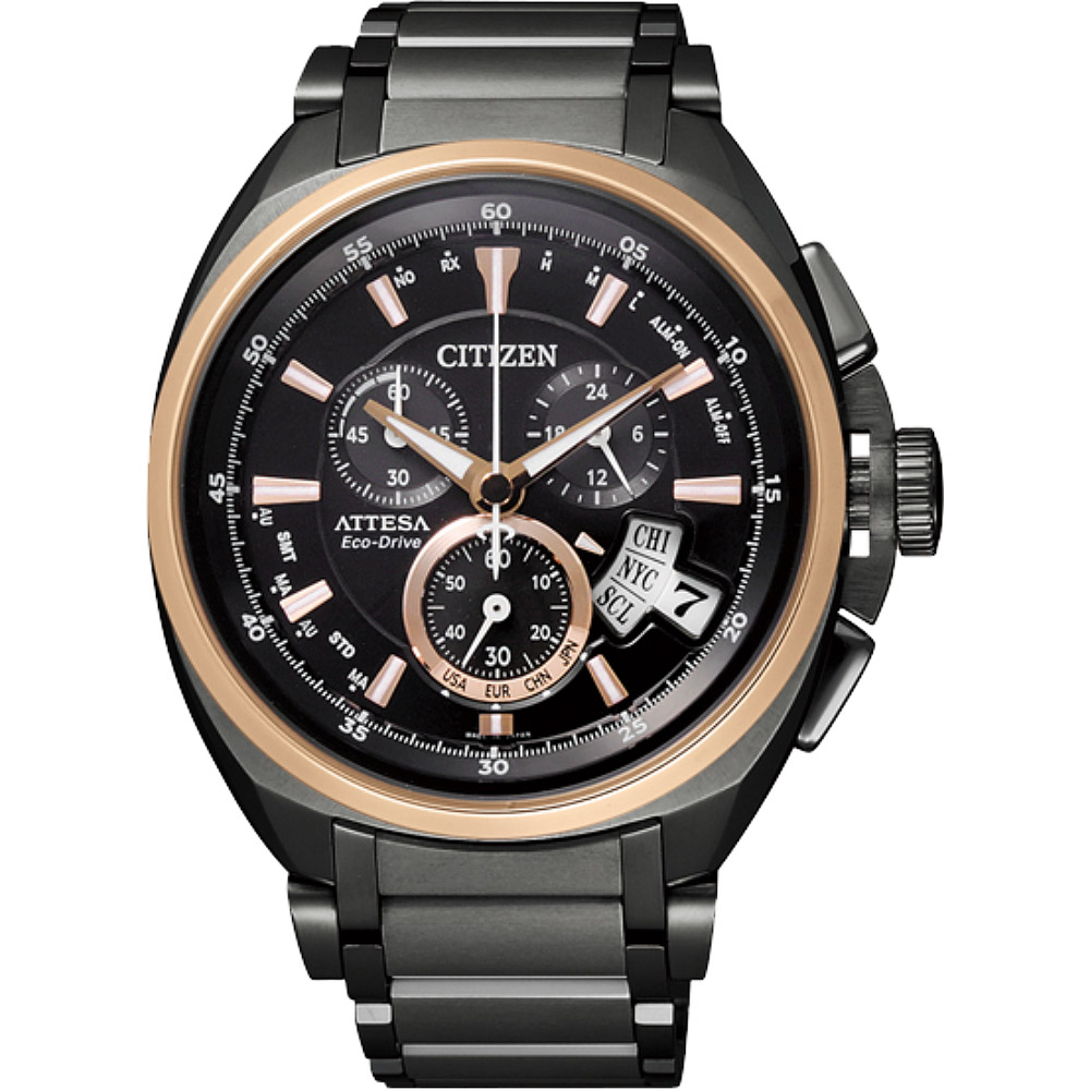CITIZEN Eco-Drive 鈦金屬五局電波男錶-IP黑(BY0029-54E)