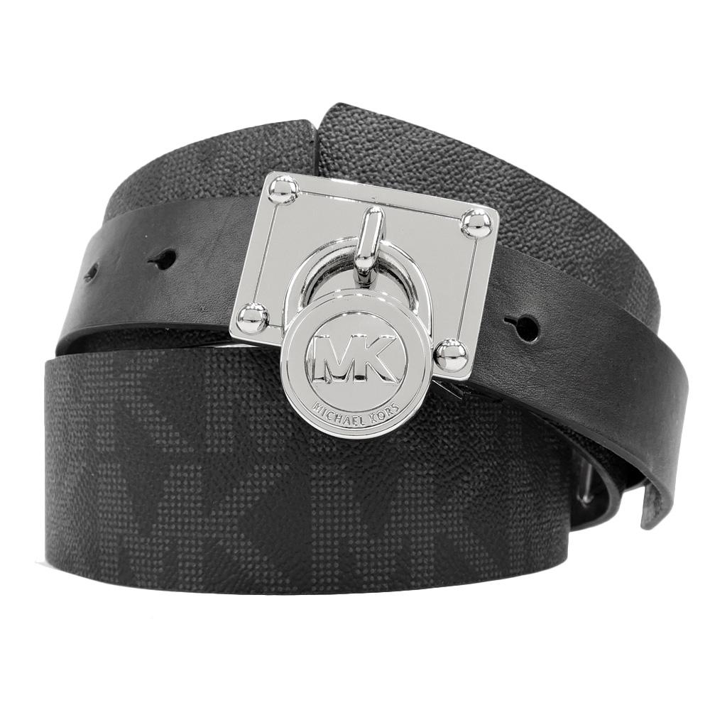 Michael Kors 銀鎖頭滿版防刮PVC超寬版皮帶(灰黑/M)