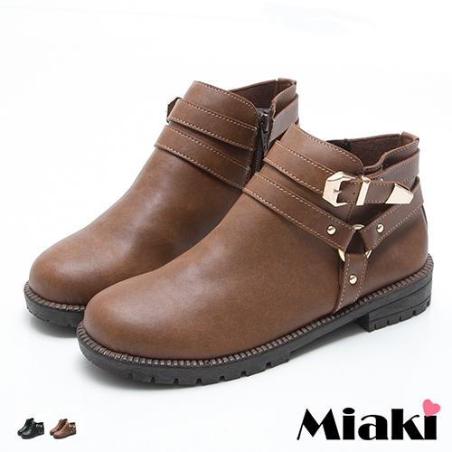 【Miaki】MIT 短靴首爾率性金屬雙釦圓頭低底包鞋 (棕色 / 黑色)