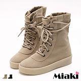 【Miaki】長靴韓團首選麂皮綁帶中筒厚底包鞋 (杏色 / 黑色)