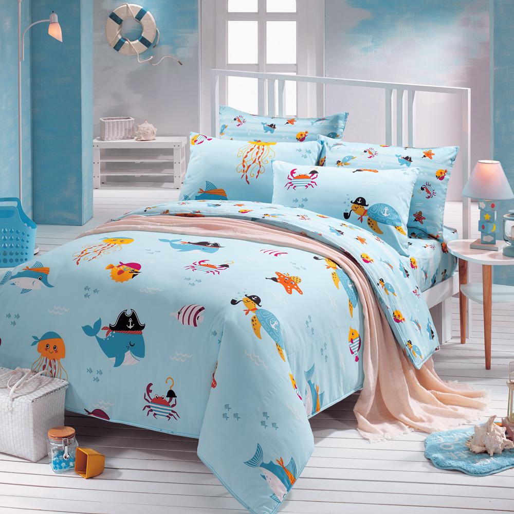 鴻宇HongYew《海洋世界》防蹣抗菌 精梳棉雙人四件式薄被套床包組