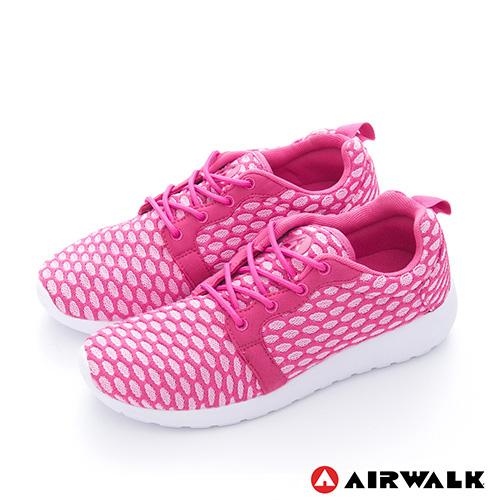 AIRWALK(女) - 比麗 蜂巢式格紋洞洞休閒慢跑鞋 - 蜜糖粉