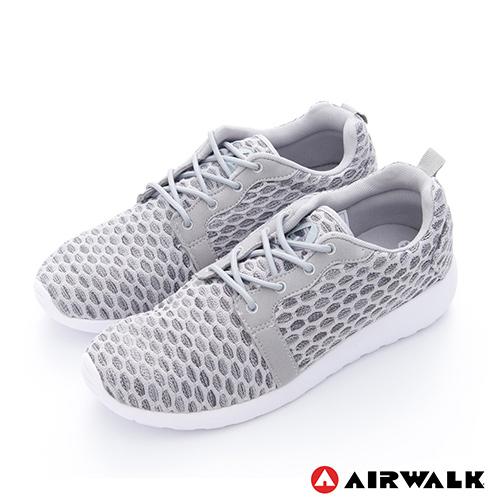AIRWALK(男)-比麗 蜂巢式格紋洞洞休閒慢跑鞋 - 嗡嗡灰