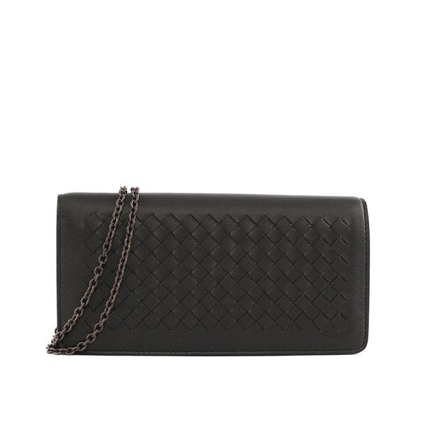 【BOTTEGA VENETA】編織小羊皮長夾式鏈包 WOC (黑色)