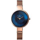 OBAKU 采麗時刻米蘭腕錶-海藍x玫瑰金