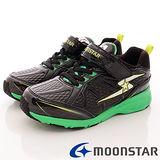 日本月星競速童鞋-防潑競速運動款-SSJ7486黑綠-(20cm-23cm)